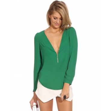 Cheap Fashion V Neck Long Sleeves Front Zipper Design Solid Green Chiffon Shirt