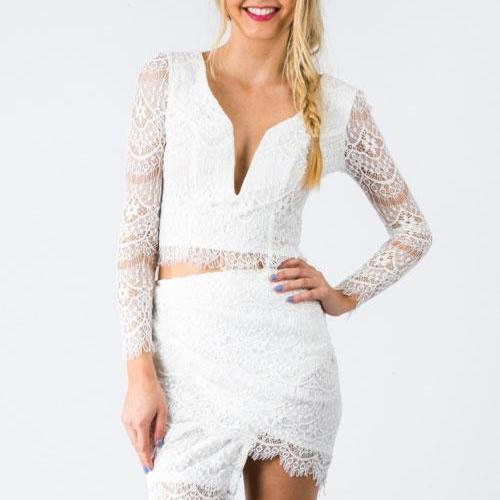 Cheap Sexy V Neck Long Sleeves Lace Patchwork Ruffled Hem Design White Polyester Sheath Skirt Set