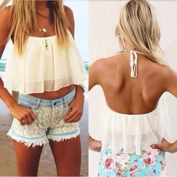 Sexy Ladies Women Crop Top Blouse Sleeveless Shirt Vest Doll Chiffon Tops