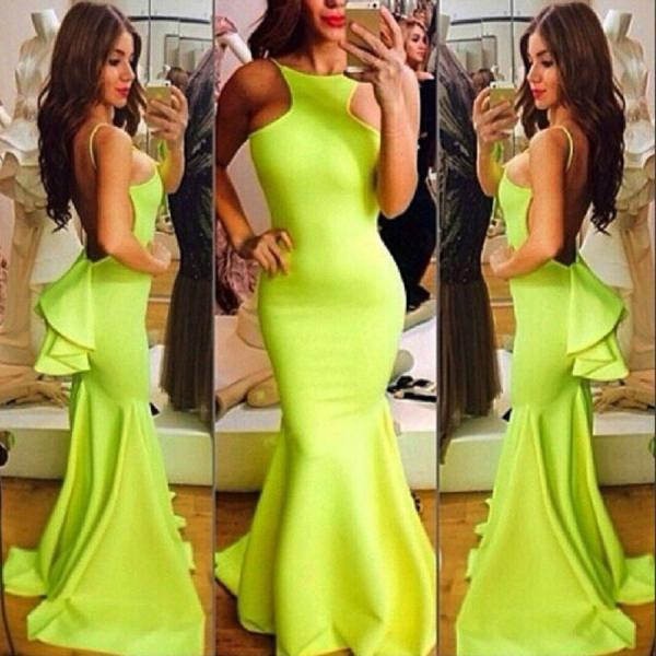 Women Sexy Gown Long Maxi Cocktail Open Back Ruffle Mermaid Prom Dress Green