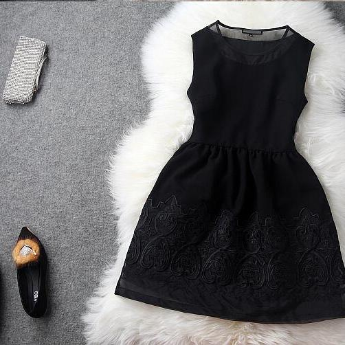 Organza skirt embroidery embroidery princess dress black dress