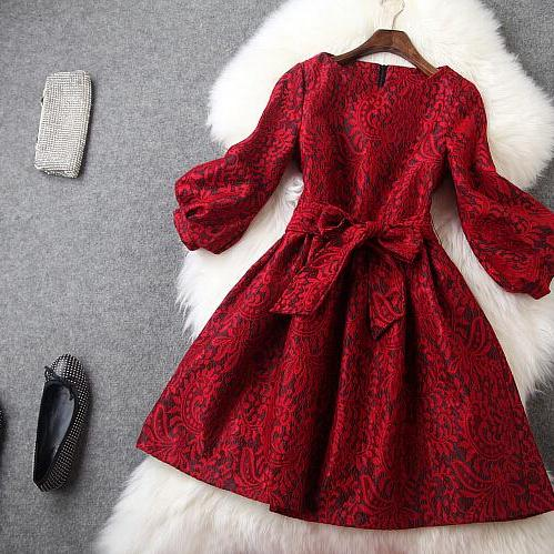 Restore ancient ways round collar lace red dress