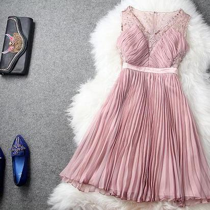 pink Embroidery v-neck pleated waist dress dress
