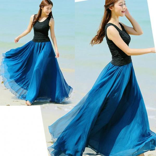 dfb9d41100 Peacock Blue Long Chiffon Skirt Maxi Skirt Ladies Silk Chiffon Dress Plus  Sizes Sundress Beach Skirt on Luulla