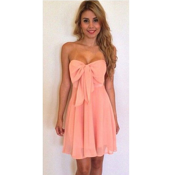 Sexy PINK Bow Strapless Piece Dress
