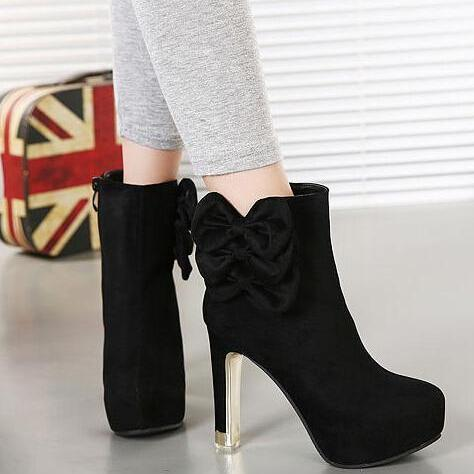 Sexy Black Bow Knot Design High Heel Boots
