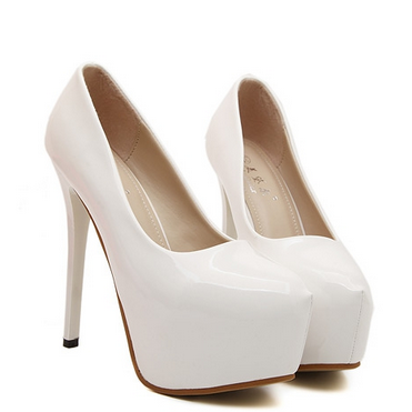 Chic Round Toe High Heel Fashion Shoes In white And Black