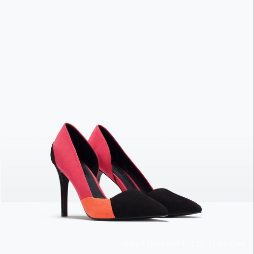 Faux Suede Colour Block Pointed-Toe High Heel Stilettos